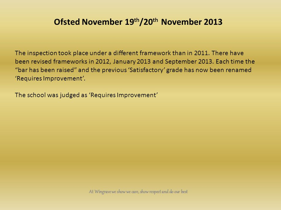 Ofsted November 19th/20th November 2013