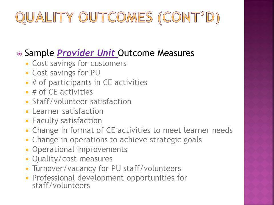 Quality outcomes (cont'd)