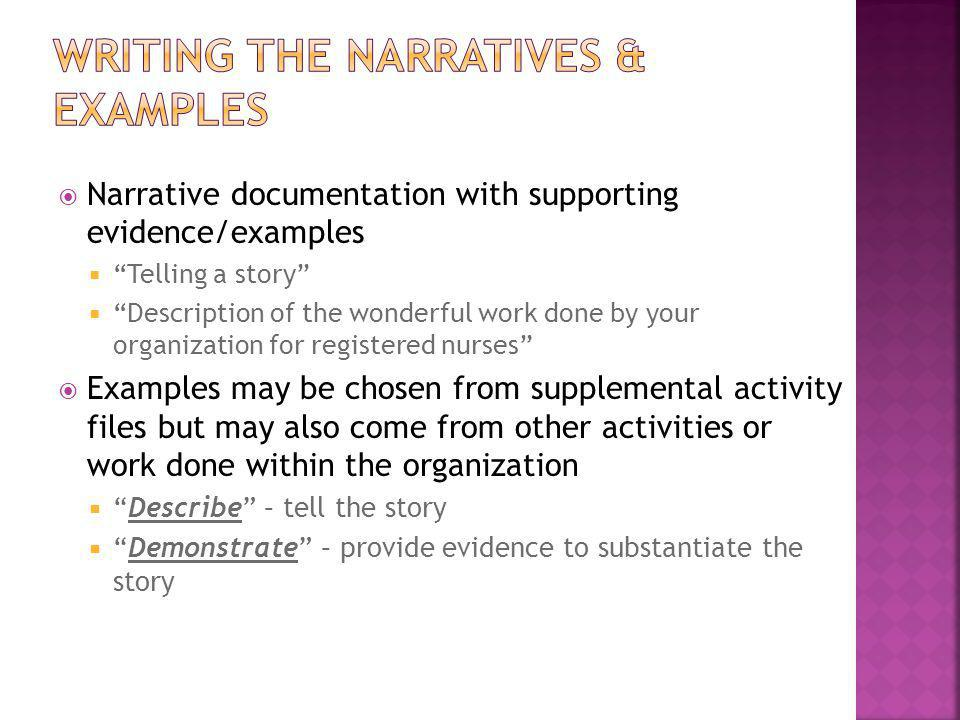 Writing the narratives & examples