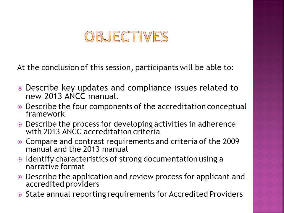 Objectives At the conclusion of this session, participants will be able to: