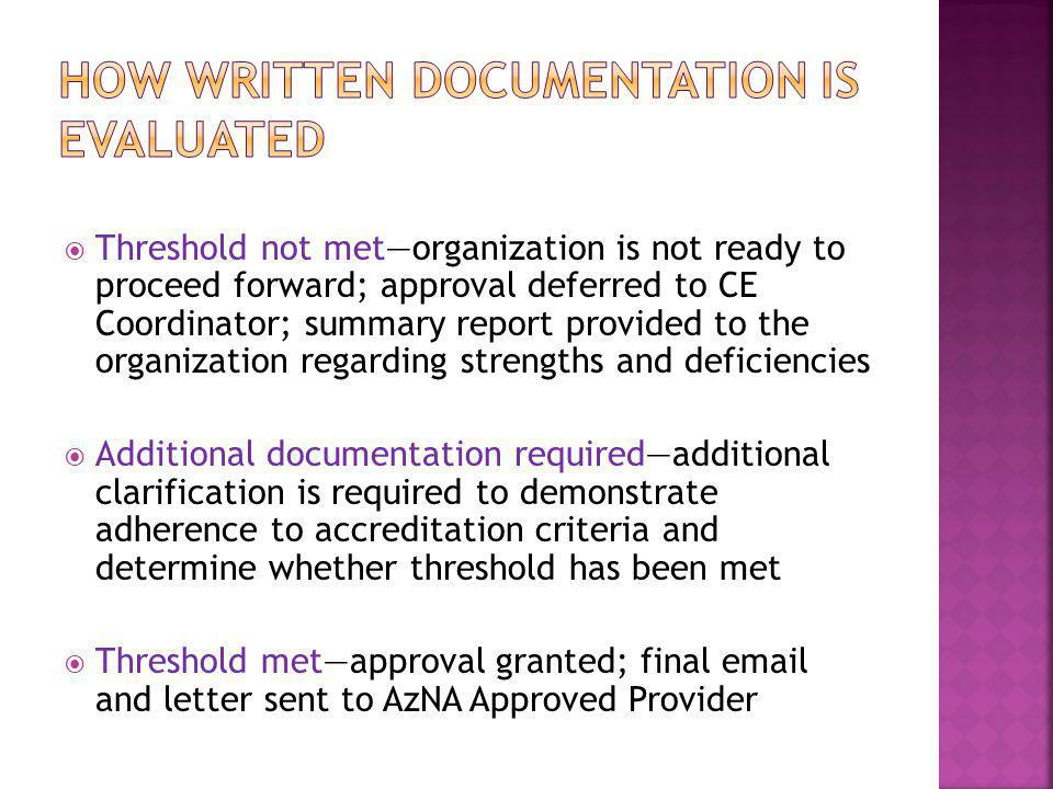 HOW WRITTEN DOCUMENTATION IS EVALUATED