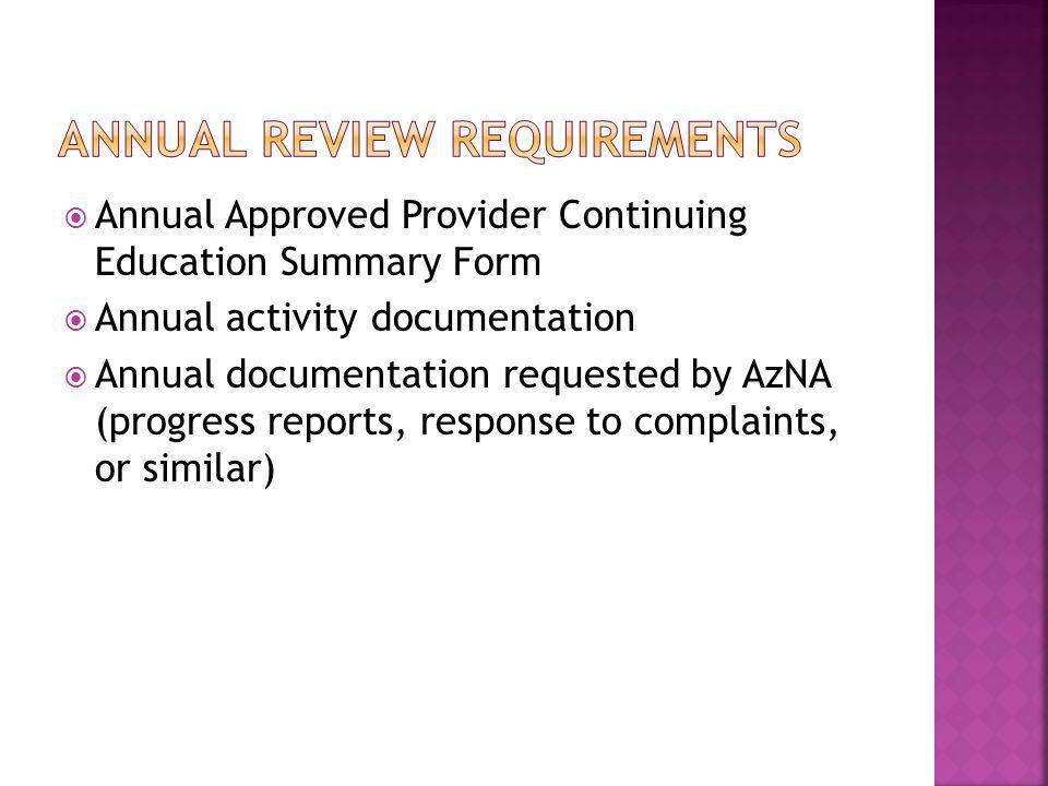 Annual review requirements