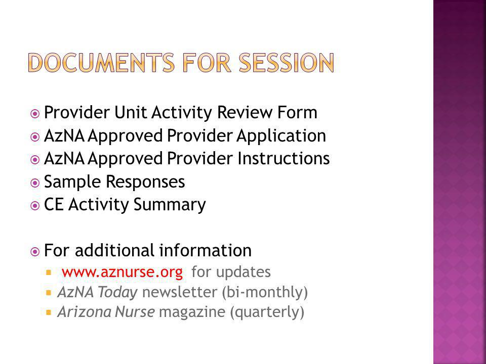Documents for session Provider Unit Activity Review Form