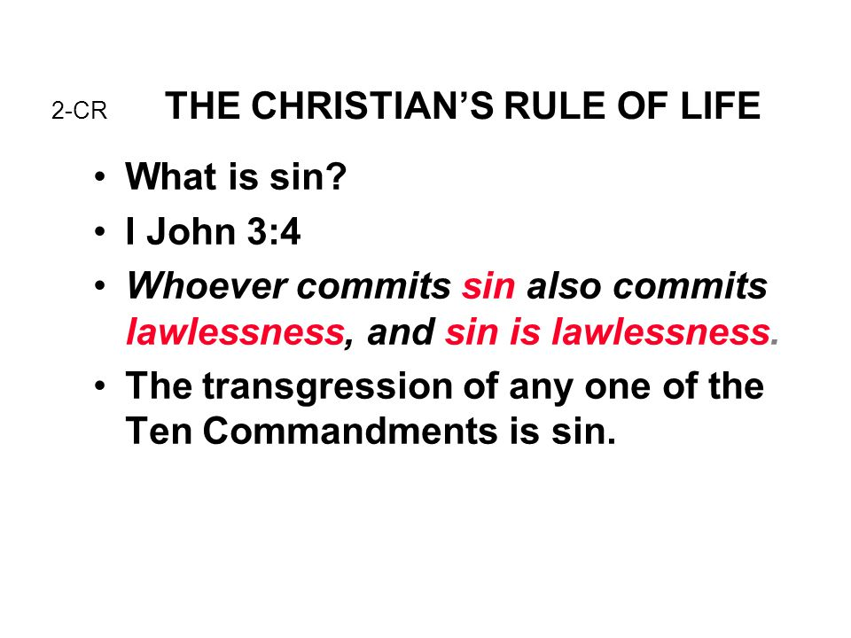2-CR THE CHRISTIAN'S RULE OF LIFE