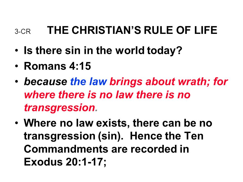 3-CR THE CHRISTIAN'S RULE OF LIFE