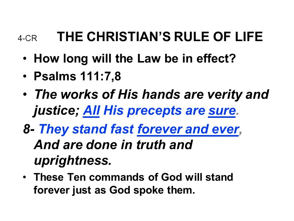 4-CR THE CHRISTIAN'S RULE OF LIFE