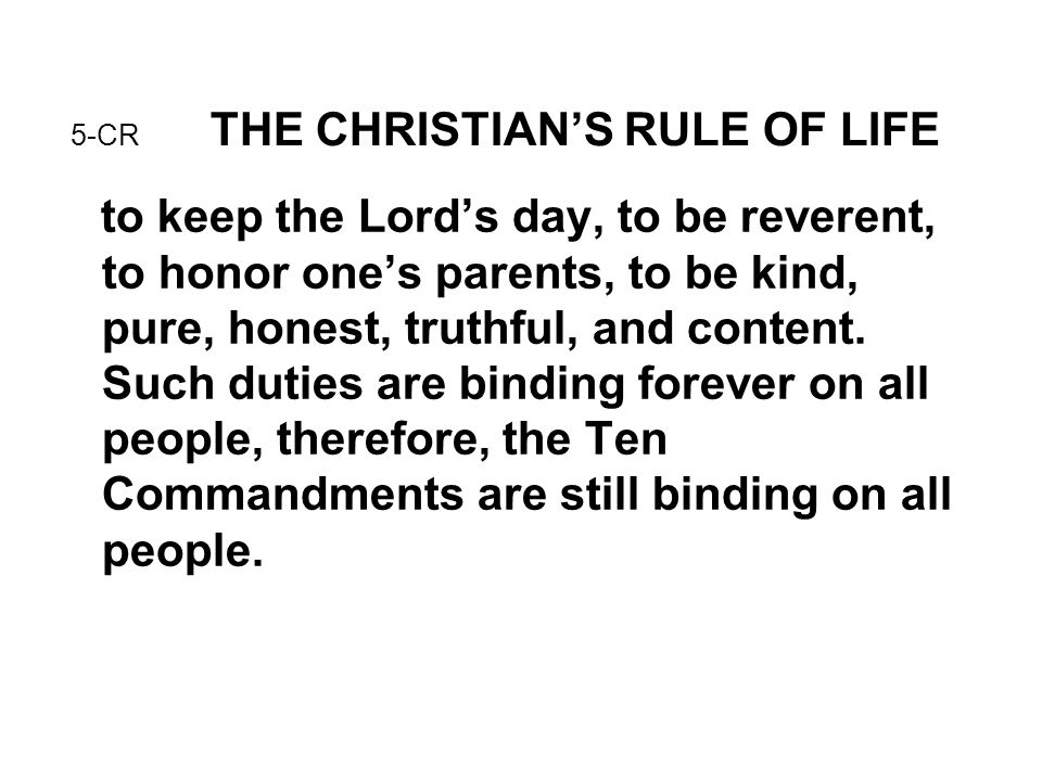 5-CR THE CHRISTIAN'S RULE OF LIFE
