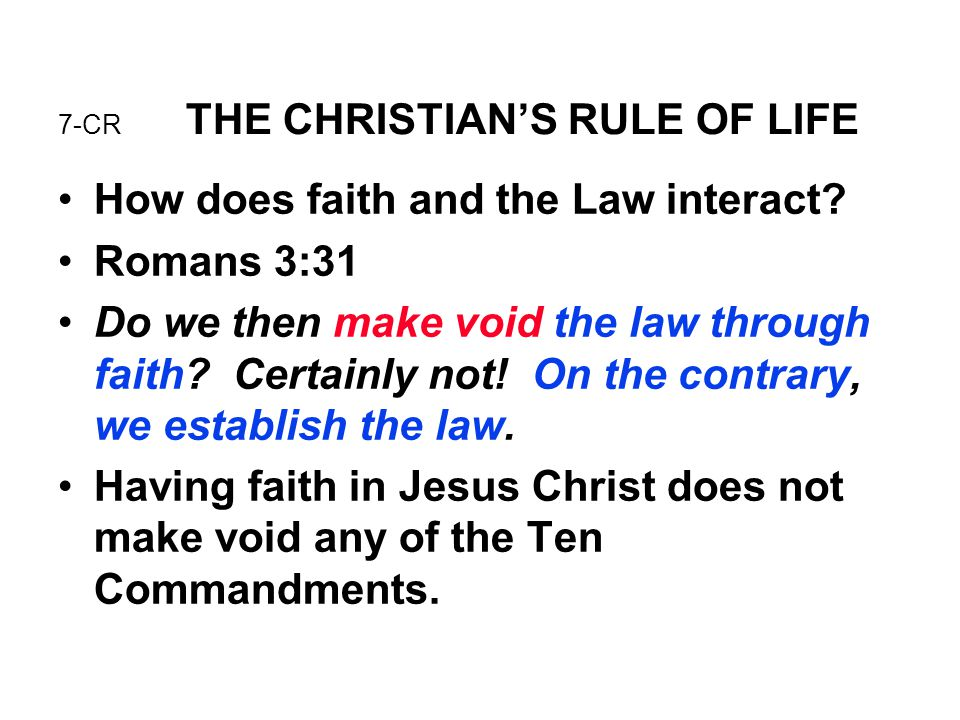 7-CR THE CHRISTIAN'S RULE OF LIFE