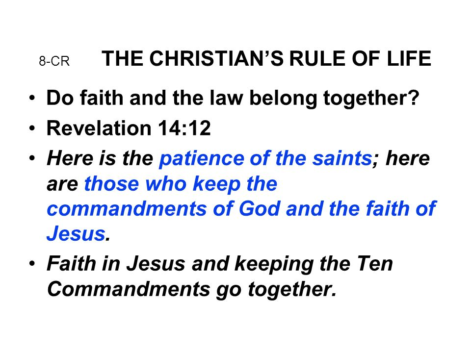 8-CR THE CHRISTIAN'S RULE OF LIFE