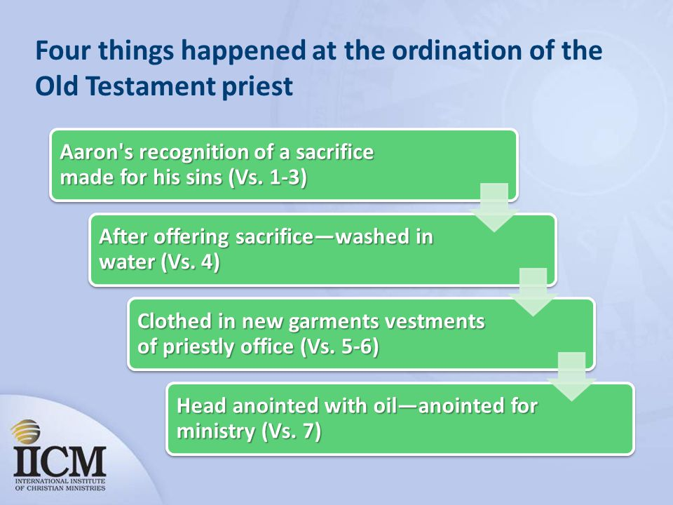Four things happened at the ordination of the Old Testament priest
