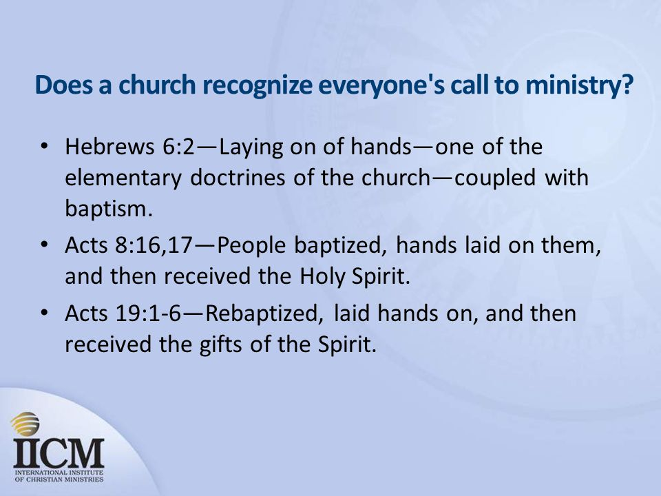 Does a church recognize everyone s call to ministry