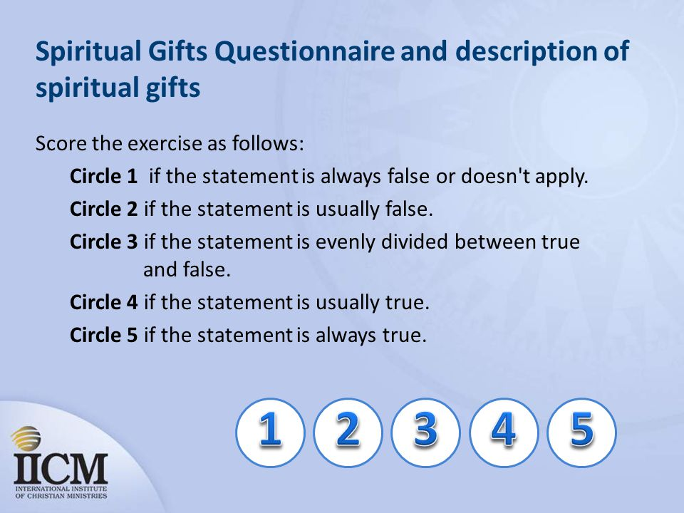 Spiritual Gifts Questionnaire and description of spiritual gifts