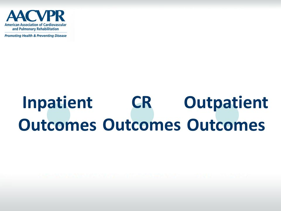 Inpatient Outcomes CR Outcomes Outpatient Outcomes