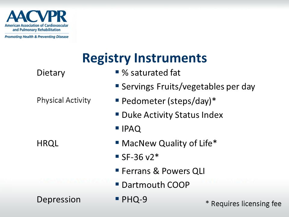 Registry Instruments Dietary % saturated fat