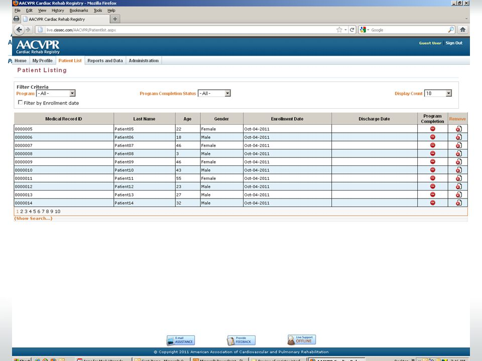 Patient records list: Will be able to filter by various criteria, sort by column headers.