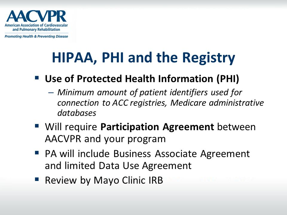 HIPAA, PHI and the Registry