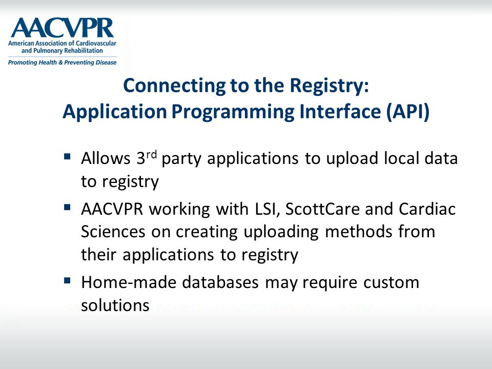 Connecting to the Registry: Application Programming Interface (API)