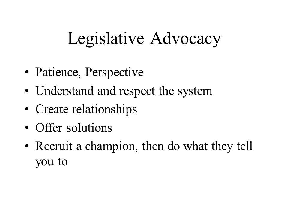 Legislative Advocacy Patience, Perspective