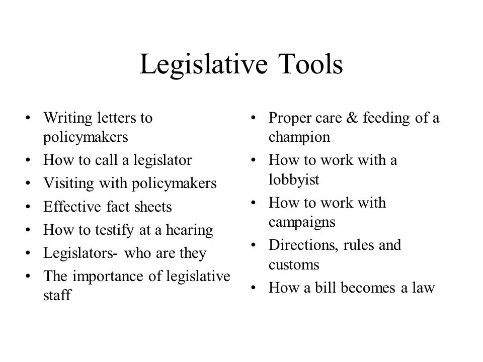 Legislative Tools Writing letters to policymakers