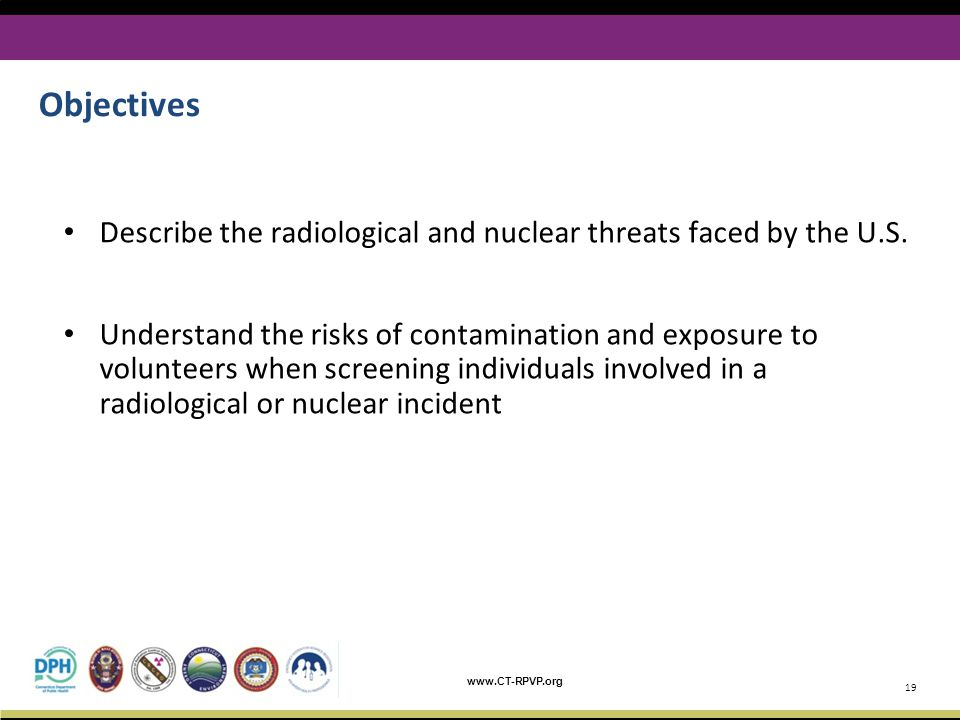 Objectives Describe the radiological and nuclear threats faced by the U.S.
