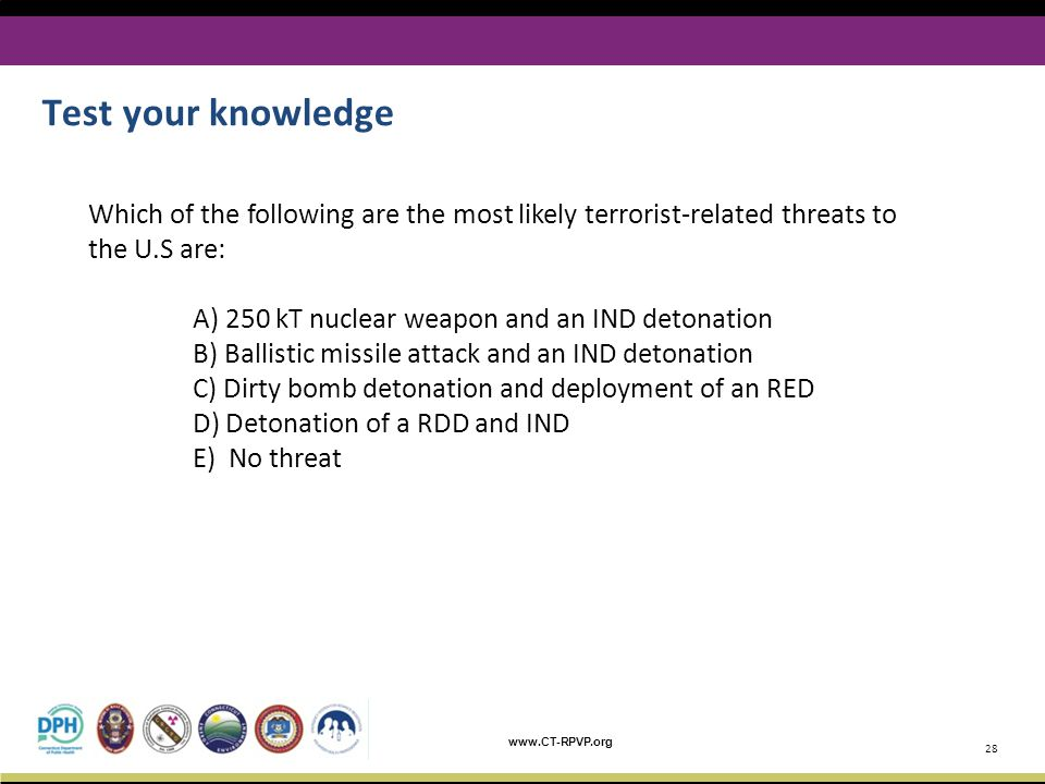 Test your knowledge Which of the following are the most likely terrorist-related threats to the U.S are: