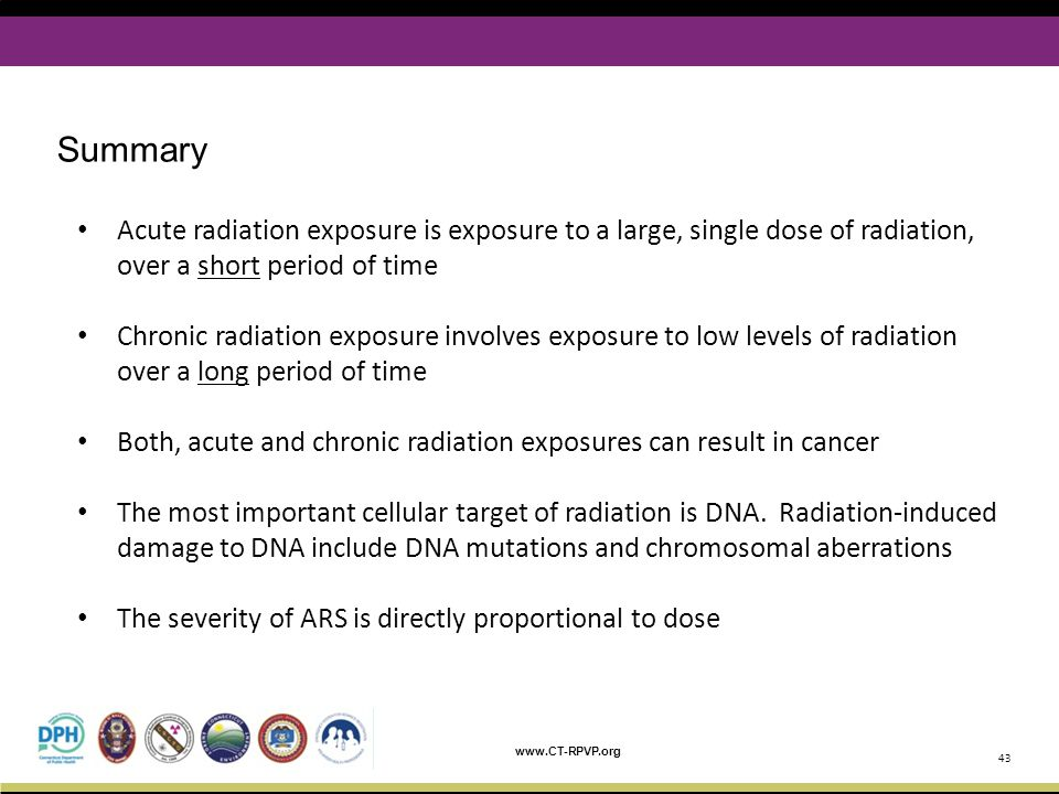 Summary Acute radiation exposure is exposure to a large, single dose of radiation, over a short period of time.