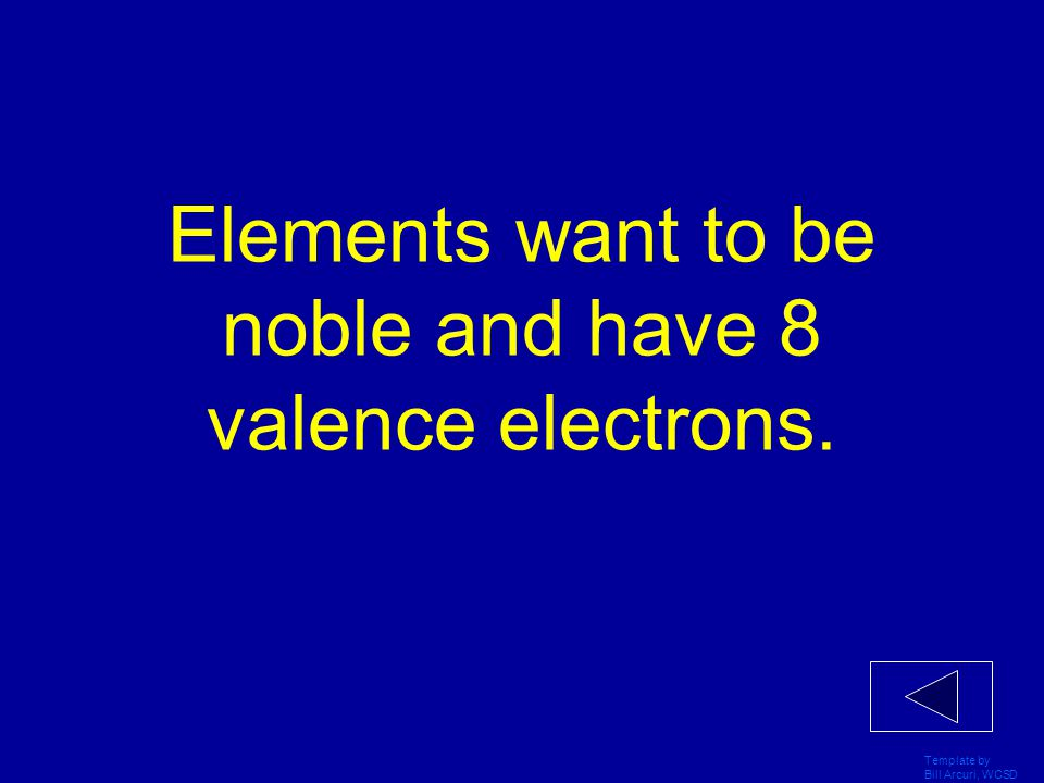 Elements want to be noble and have 8 valence electrons.