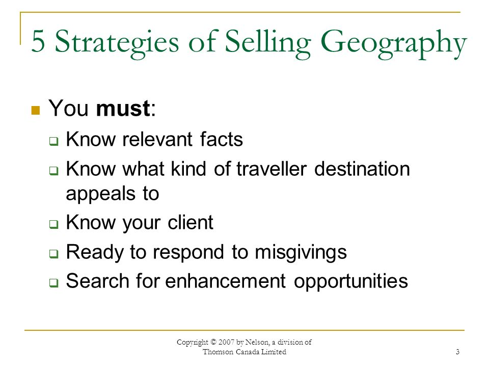 5 Strategies of Selling Geography