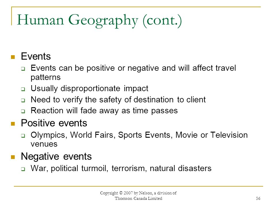 Human Geography (cont.)