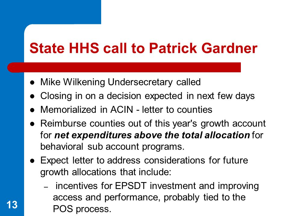 State HHS call to Patrick Gardner