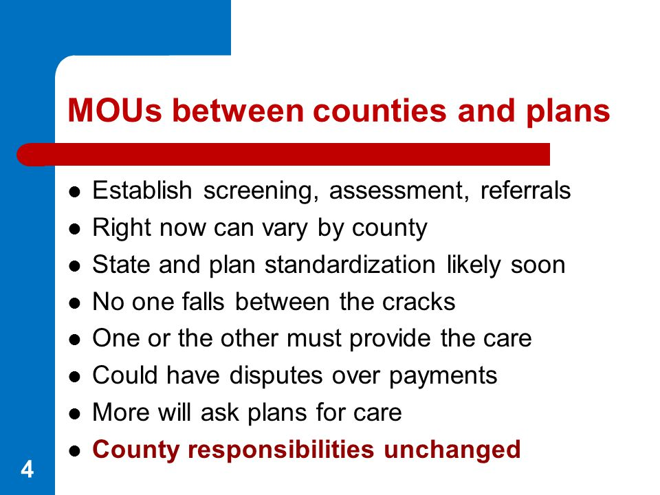 MOUs between counties and plans