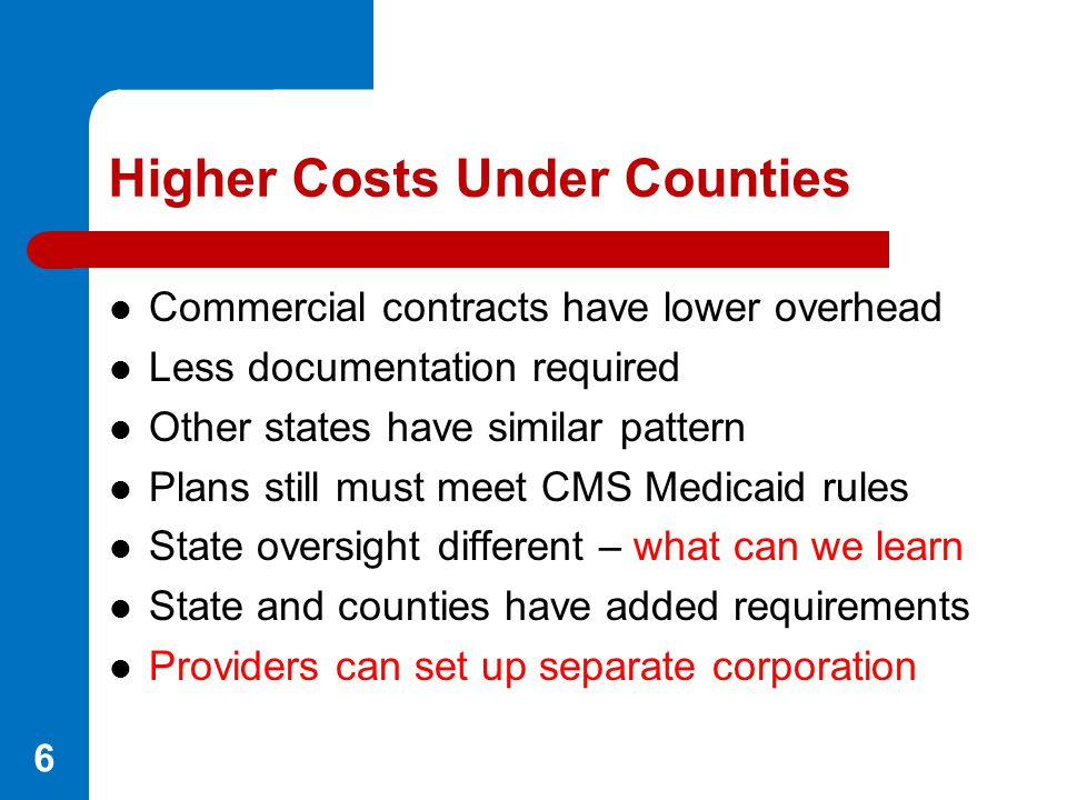 Higher Costs Under Counties