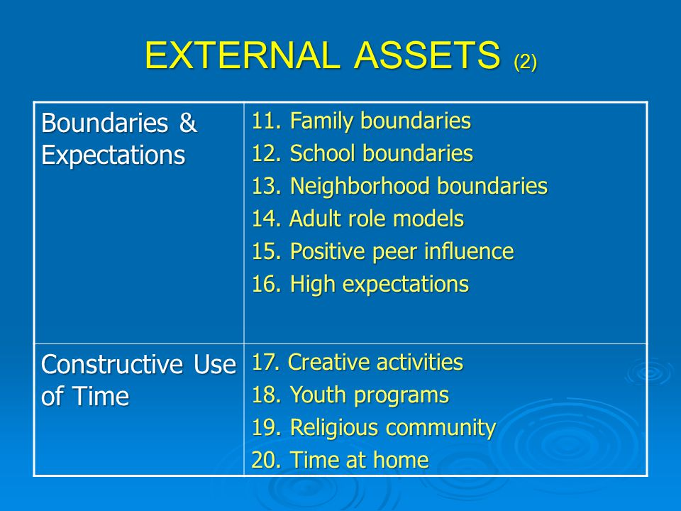 EXTERNAL ASSETS (2) Boundaries & Expectations Constructive Use of Time