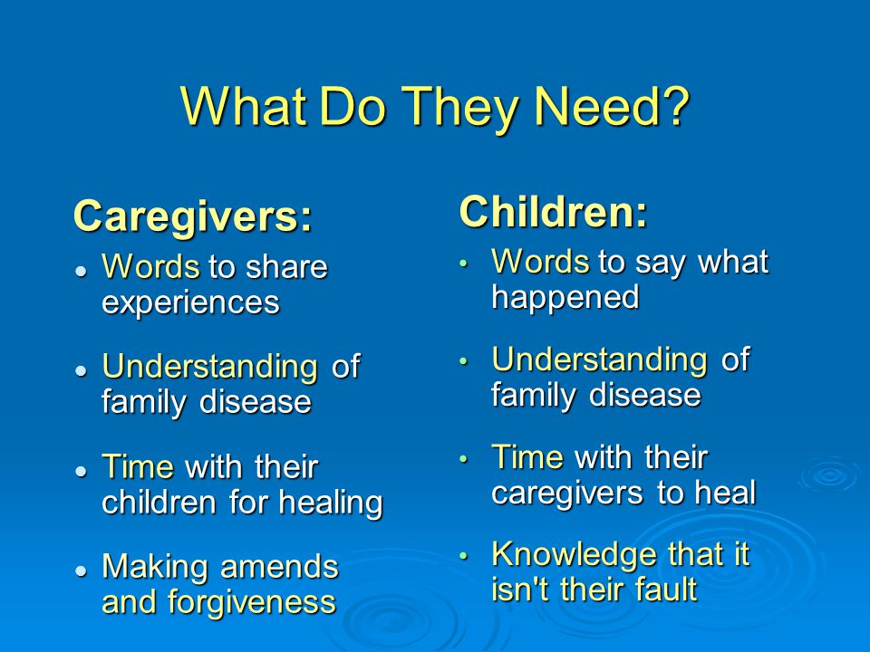 What Do They Need Children: Caregivers: Words to say what happened