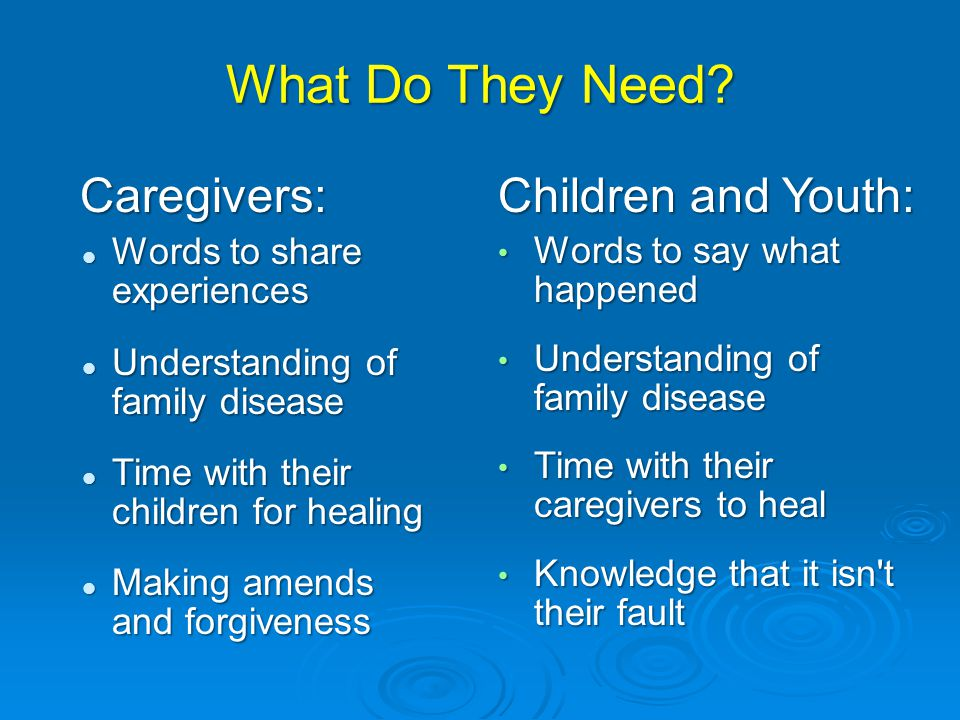 What Do They Need Caregivers: Children and Youth: