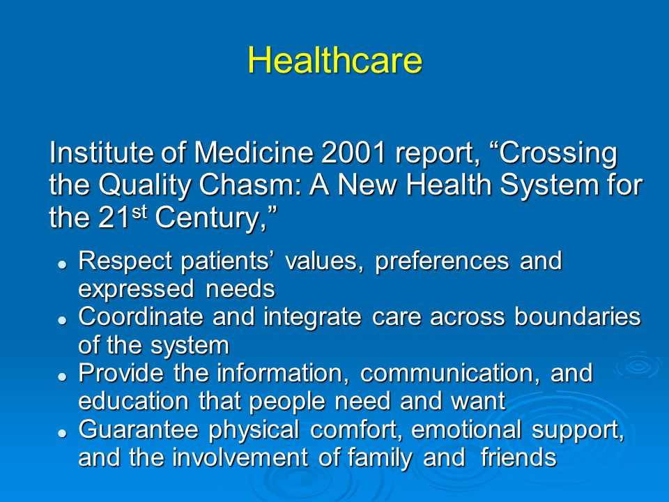 Healthcare Institute of Medicine 2001 report, Crossing the Quality Chasm: A New Health System for the 21st Century,