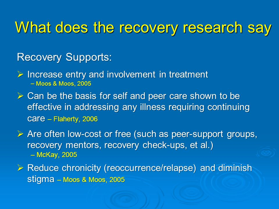 What does the recovery research say