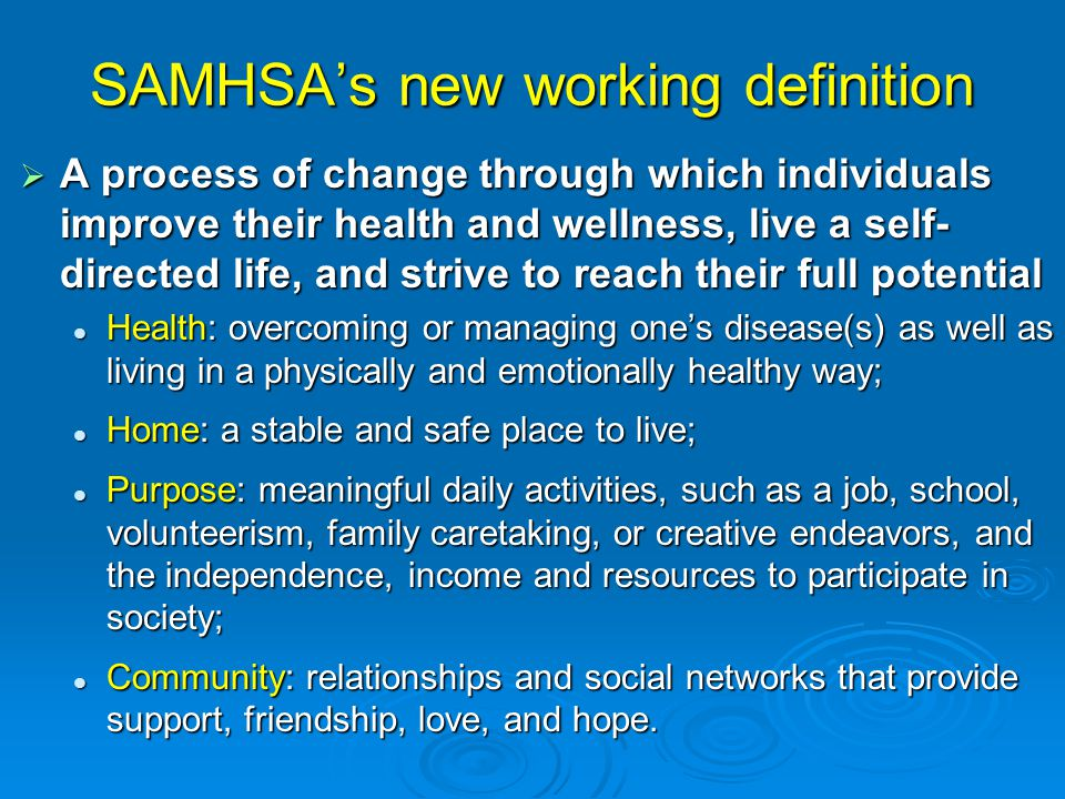 SAMHSA's new working definition