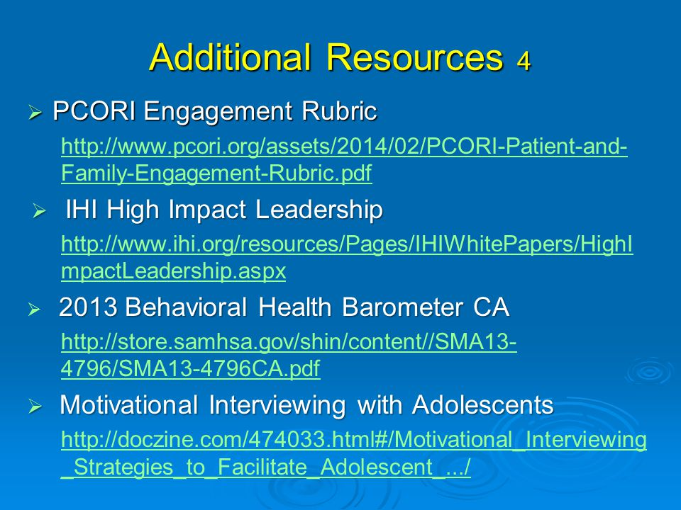 Additional Resources 4 PCORI Engagement Rubric