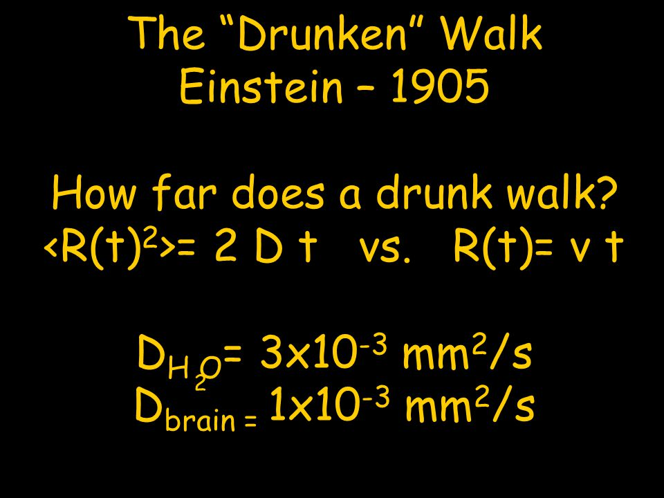 How far does a drunk walk <R(t)2>= 2 D t vs. R(t)= v t