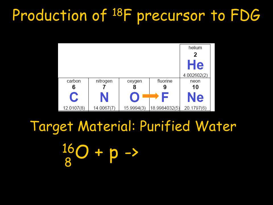 16O + p -> 18F + n 8 9 Production of 18F precursor to FDG