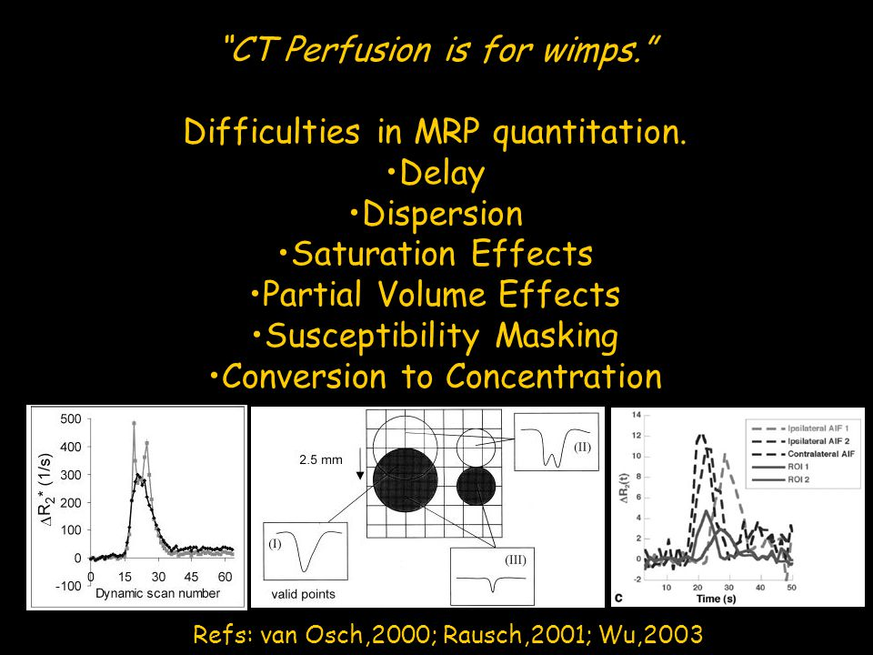 CT Perfusion is for wimps. Difficulties in MRP quantitation. Delay