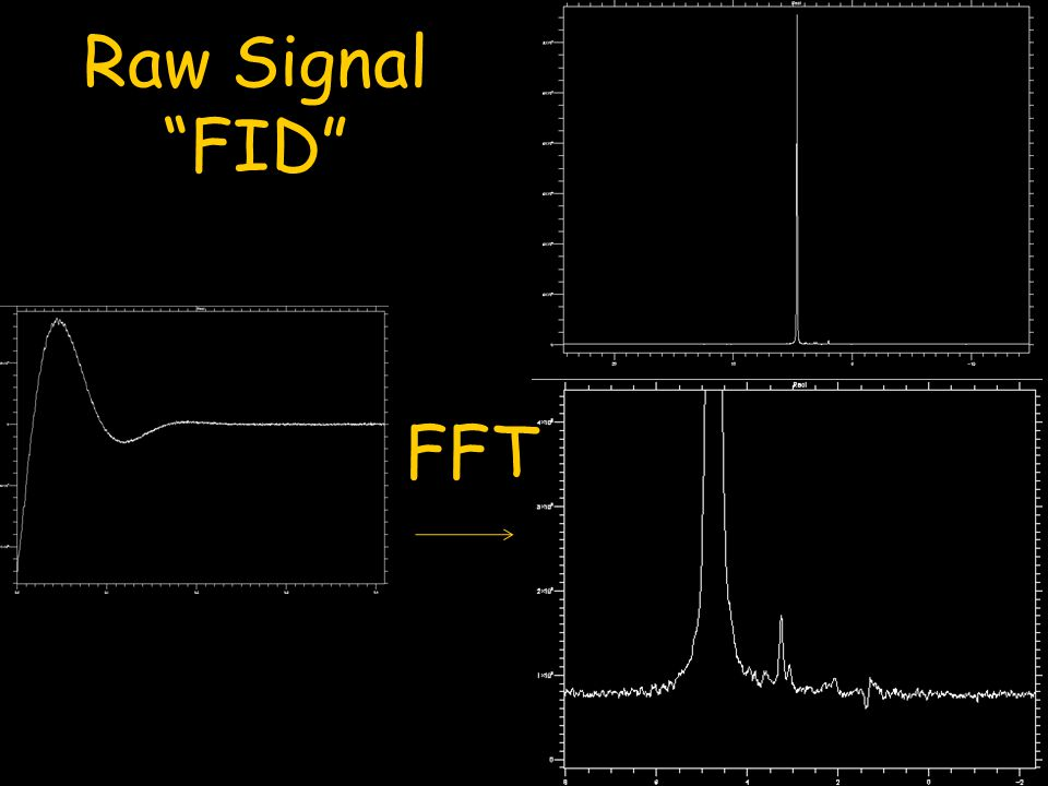 Raw Signal FID FFT. Shown on the left is what is called a free induction decay or FID.