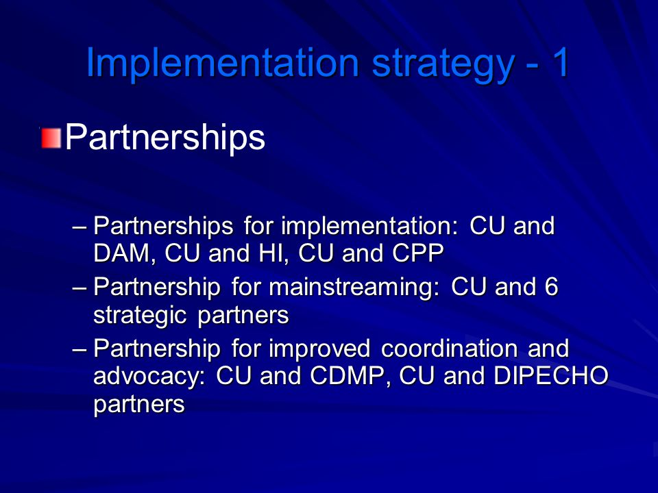 Implementation strategy - 1