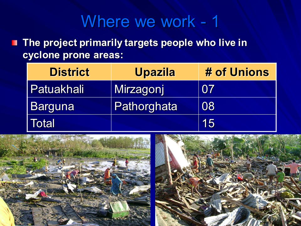 Where we work - 1 District Upazila # of Unions Patuakhali Mirzagonj 07
