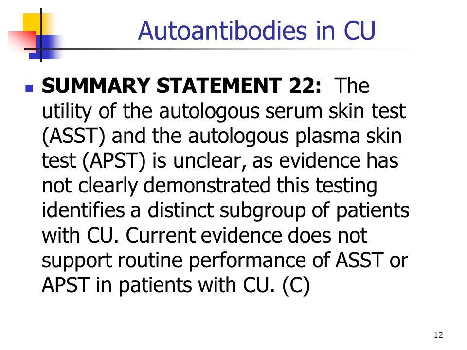 Autoantibodies in CU