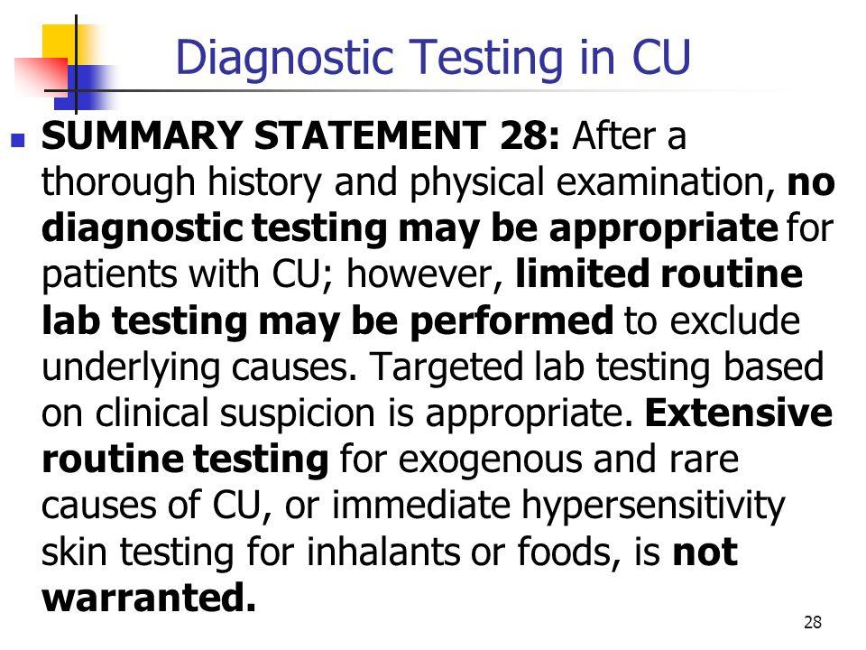 Diagnostic Testing in CU