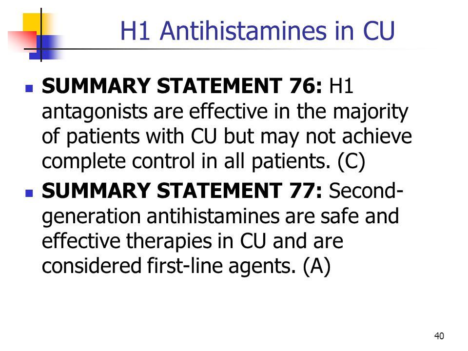 H1 Antihistamines in CU