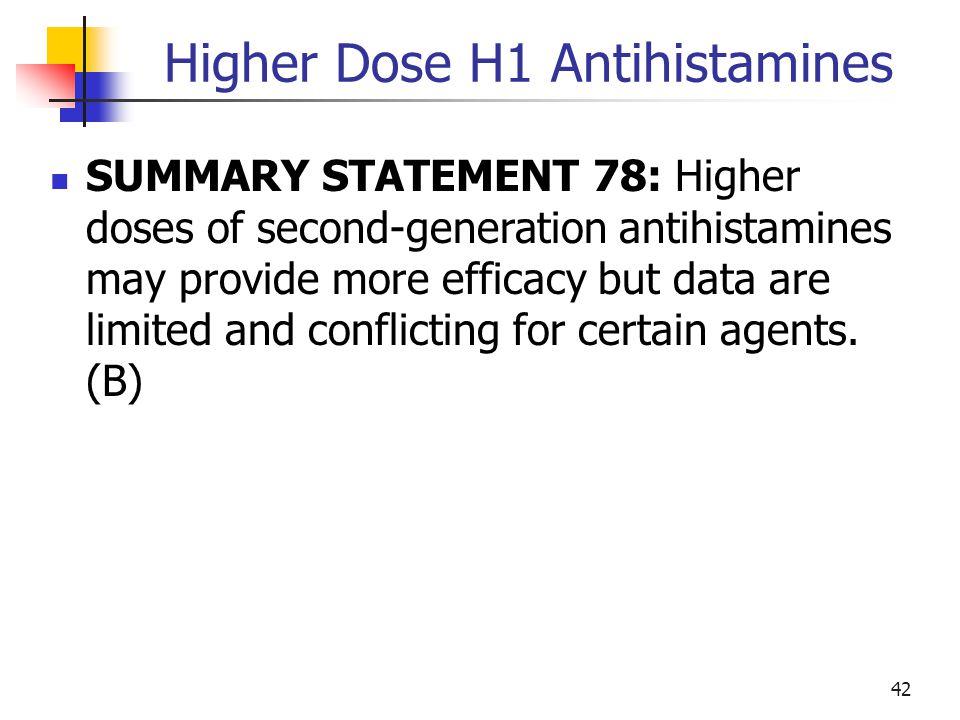 Higher Dose H1 Antihistamines