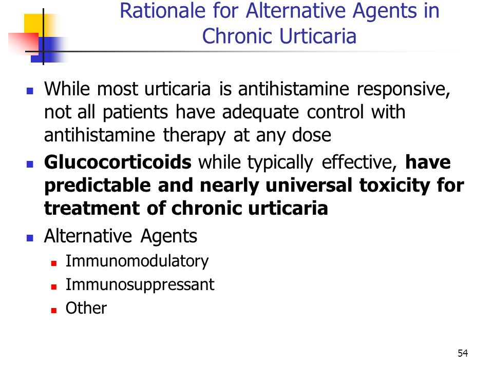 Rationale for Alternative Agents in Chronic Urticaria